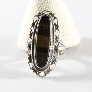 Jewelry - Sterling Silver Elongated Tigers Eye Ring 8